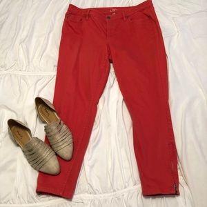 Ann Taylor Loft curvy skinny ankle jeans.